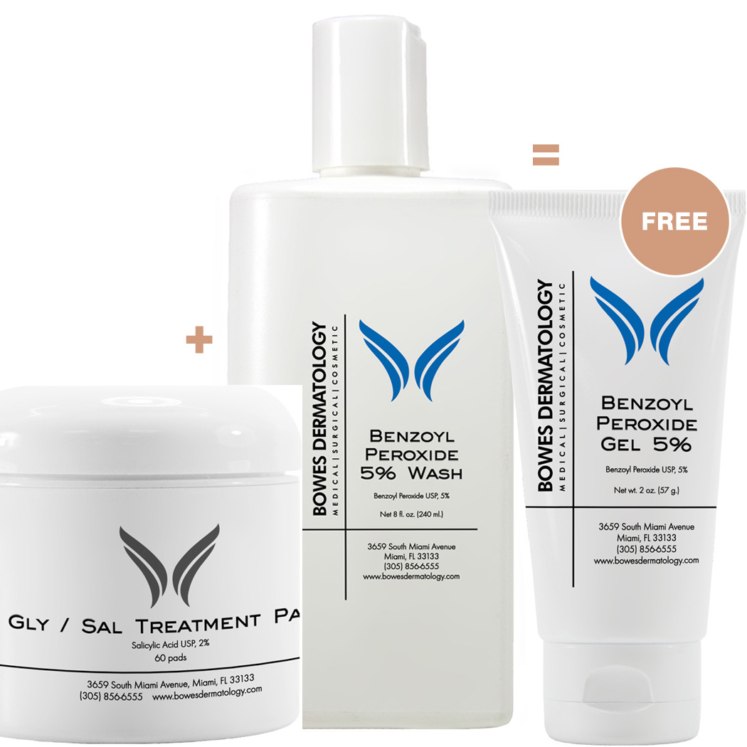 Purchase a Benzoyl Peroxide Cleanser & Gly / Sal Treatment Pads & Receive a Complimentary Benzoyl Peroxide Gel