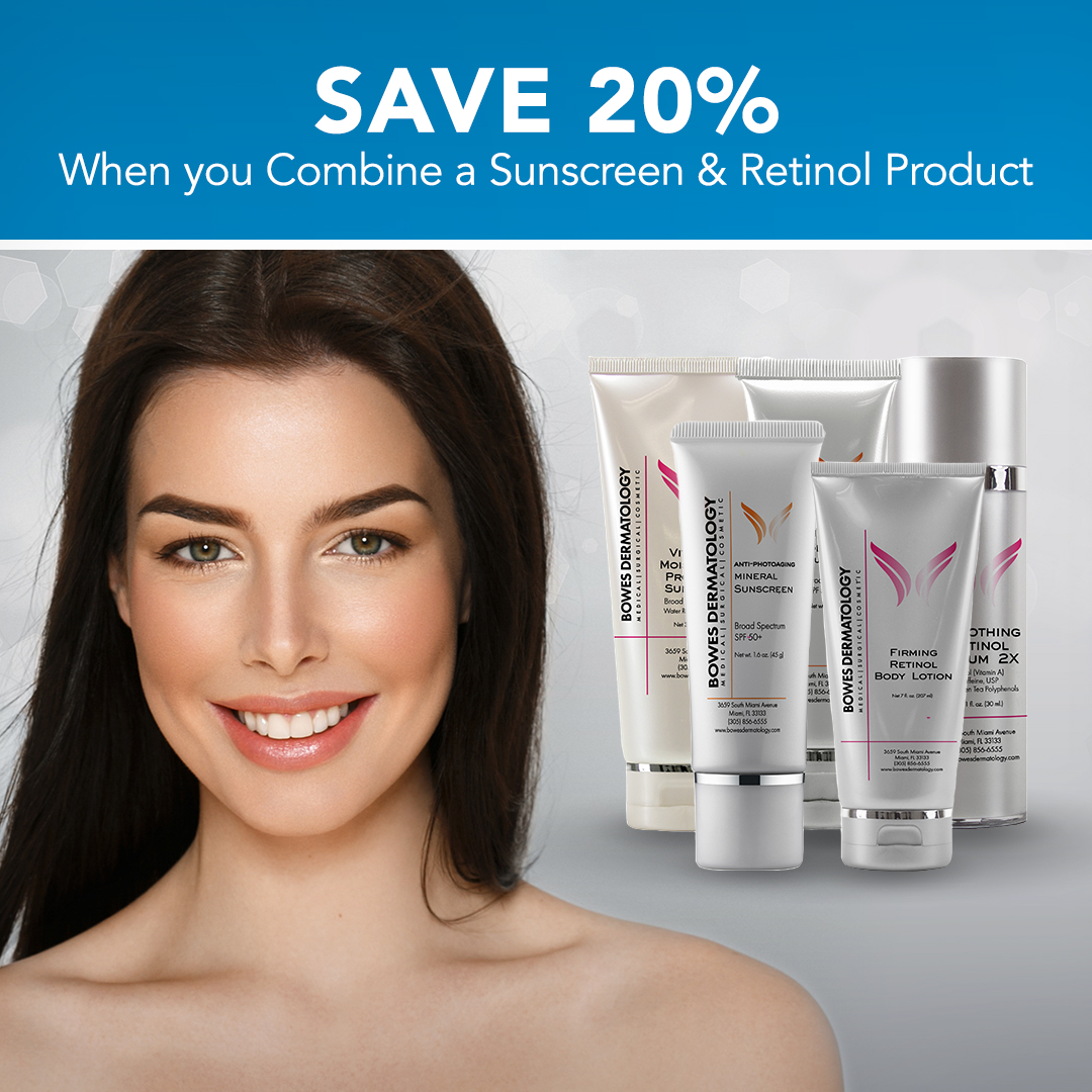 Save 20% when you combine a sunscreen & retinol product.
